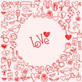 Sketchy love and hearts doodles Stock Photo