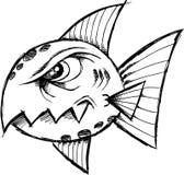 Sketchy Mean fish Vector. Illustration Stock Photos