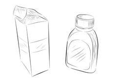 Sketchy of Medical Bottle and Cardboard, Isolated on White. Vector Sketchy of Medical Bottle and Cardboard, Isolated on White Stock Photo