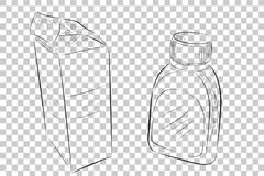Sketchy of Medical Bottle and Cardboard, at Transparent Effect Background. Vector Sketchy of Medical Bottle and Cardboard, at Transparent Effect Background Stock Photography