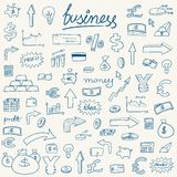 Sketchy money icons. Business icons - doodle style illustration with money, currencies and finance object symbols Royalty Free Stock Image