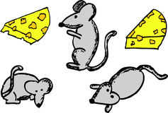 Sketchy mouse and cheese, isolated on white Royalty Free Stock Photos