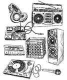 Sketchy Music Elements. Vector Set Royalty Free Stock Images
