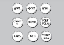 Sketchy navigation buttons. Creative navigation buttons in a sign that can be used for websites Stock Images