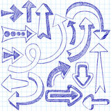 Sketchy Notebook Doodle Arrows Stock Images