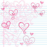 Sketchy Notebook Doodle Hearts. Vector Illustration of Hand-Drawn Sketchy Notebook Doodle Love Hearts on Lined Notebook Paper Background. Perfect for Valentine's Royalty Free Stock Photography