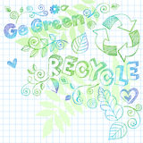 Sketchy Notebook Doodle Recycle Illustration. Hand- Drawn Sketchy Notebook Doodles Go Green Recycle Vector  Illustration with Conservation Recycling Sign, Leaves Stock Images
