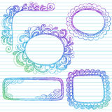 Sketchy Notebook Doodles Border Frames. Vector Illustration of Hand-Drawn Abstract Sketchy Notebook Doodles Border and Corner Edge Design Elements on Lined Stock Photos