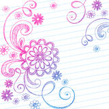 Sketchy Notebook Doodles on Lined Paper. Vector Illustration of Hand-Drawn Sketchy Swirls and Flowers Notebook Doodles on Lined Paper Background Stock Photo
