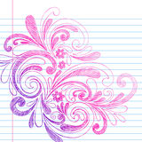 Sketchy Notebook Doodles on Lined Paper Vector. Vector Illustration of Hand-Drawn Sketchy Swirls and Flowers Notebook Doodles on Lined Paper Royalty Free Stock Photography
