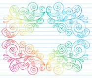 Sketchy Notebook Doodles Swirls Vines Border. Vector Illustration of Hand-Drawn Abstract Sketchy Notebook (Sketchbook) Doodles Swirly Vines Design Elements on Royalty Free Stock Photography