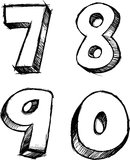 Sketchy Numbers Vector Illustration Royalty Free Stock Photography