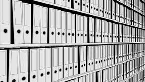 Sketchy office binders. 3D rendering. Sketchy office binders on shelves. 3D Stock Image