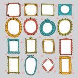 Sketchy Ornamental Frames And Borders. Doodles Frame Set. Stock Photos