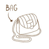 Sketchy outlined illustration of elegant striped shoulder bag Stock Image