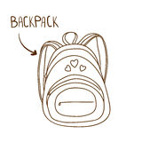 Sketchy outlined illustration of fashionable woman's backpack Royalty Free Stock Photos