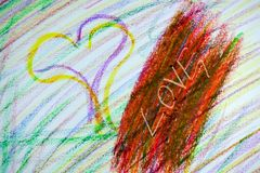 Sketchy painting of love drawn with crayon. Sketchy scribble like painting of some hearts and word of love in many different colors and some colors mashed up Royalty Free Stock Photo