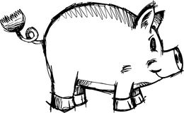 Sketchy Pig Vector Illustration Royalty Free Stock Image