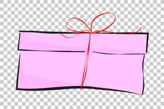 Sketchy of Pink Rectangle Gift Box, red small ribbon, at Transparent Effect Background. Vector Sketchy of Pink Rectangle Gift Box, red small ribbon, at Stock Photos