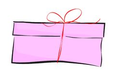 Sketchy of Pink Rectangle Gift Box, red small ribbon. Vector Sketchy of Pink Rectangle Gift Box, red small ribbon Stock Photography