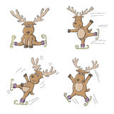 Sketchy Reindeer Ice Skating Stock Image
