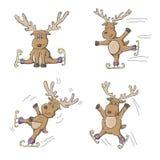 Sketchy Reindeer Ice Skating Stock Image