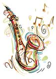 Sketchy Saxophone. Isolated on white Background royalty free illustration