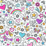 Sketchy School Doodles Heart and Stars Pattern. Seamless Pattern Rainbow Doodles- Back to School Sketchy Notebook Design- Hand-Drawn Vector Illustration Royalty Free Stock Photos