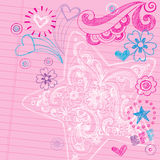 Sketchy School Doodles Vector Design Elements. Sketchy Swirly Star Notebook Doodles - Hand-Drawn Back to School Design Elements Vector Illustration on Lined vector illustration