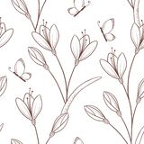 Sketchy seamless pattern with flowers and butterfly. Outline spring bakground in vector Royalty Free Stock Photography
