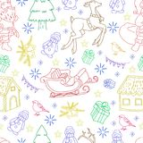 Sketchy seamless pattern vector hand drawn Doodle cartoon set of objects and symbols on the New Year theme. Sketchy seamless pattern vector hand drawn Doodle Stock Images