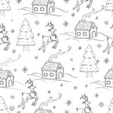 Sketchy seamless pattern vector hand drawn Doodle cartoon set of objects and symbols on the New Year theme. Sketchy seamless pattern vector hand drawn Doodle Stock Photography