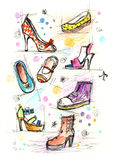 Sketchy Shoes. Illustration of a variety of women shoes. Similar images with other women accessories available in my portfolio Stock Images