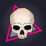Sketchy skull illustration. With triangle in background Royalty Free Stock Photos