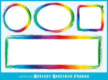 Sketchy Spectrum Frames. Background frames with sketchy spectrum coloring in circle, square and oval with copyspace Stock Images