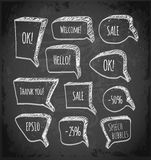 Sketchy speech and thought bubbles on chalkboard. Royalty Free Stock Photography