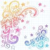Sketchy Star Doodles Vector Illustration Design. Shooting Stars and Swirls Back to School Notebook Doodles- Hand-Drawn Sketchy Illustration Design Elements on Royalty Free Stock Image