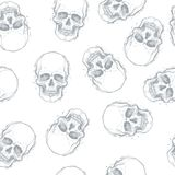 Sketchy style drawing of human skull, human head, seamless patte Stock Photography