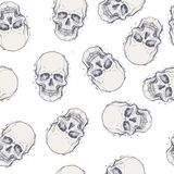 Sketchy style drawing of human skull, human head, seamless patte Royalty Free Stock Image