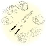 Sketchy sushi set Royalty Free Stock Image