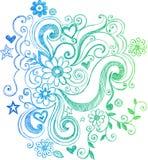 sketchy swirls för klotterblommaillustration stock illustrationer