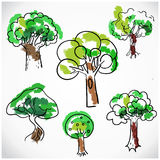 Sketchy tree set isolated, vector illustration hand drawn Stock Photo