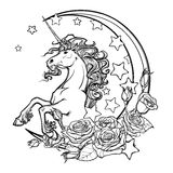 Sketchy unicorn with crescent stars and roses greeting card Royalty Free Stock Photos