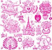 Sketchy uppsättning av förälskelse stock illustrationer