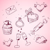 Sketchy valentine day icons Royalty Free Stock Image