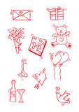 Sketchy of valentine elements. Royalty Free Stock Images