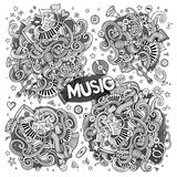 Sketchy vector doodles cartoon set of Music designs Stock Images