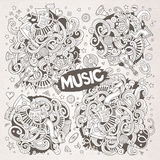 Sketchy vector doodles cartoon set of Music designs Royalty Free Stock Image