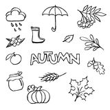 Sketchy vector hand drawn Doodle cartoon set of objects on the a Royalty Free Stock Photos