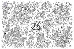 Sketchy vector hand drawn Doodle cartoon set of. Objects and symbols on the baby theme Royalty Free Stock Image